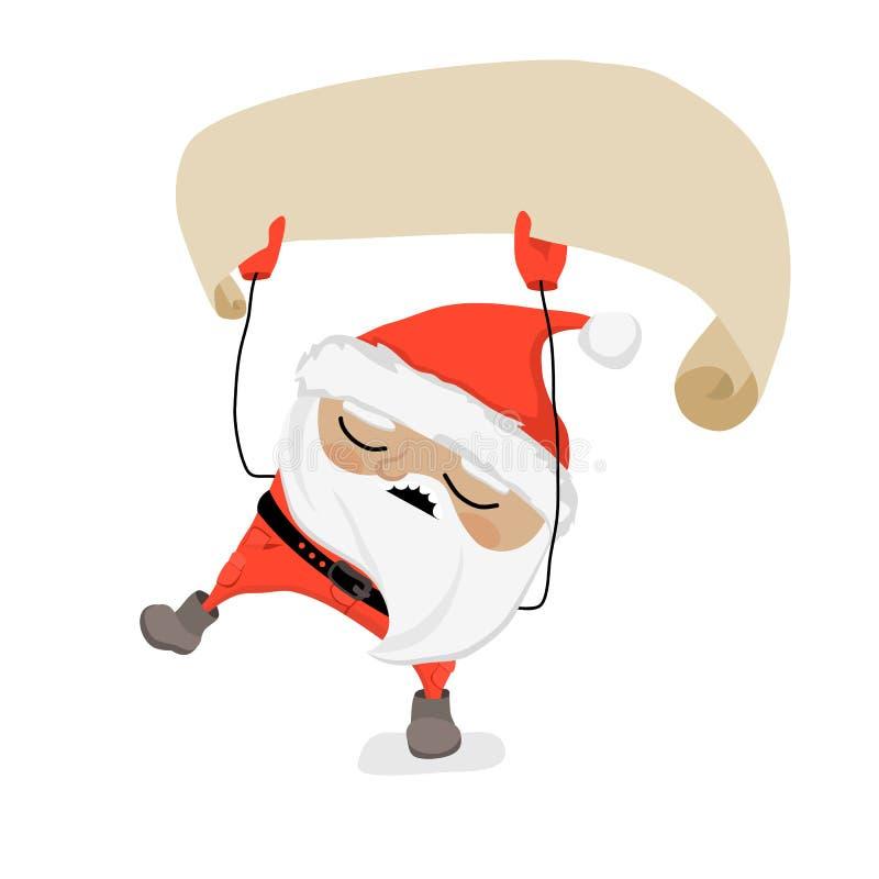 Santa Claus borracha está celebrando la cinta en blanco, el canto y el baile libre illustration
