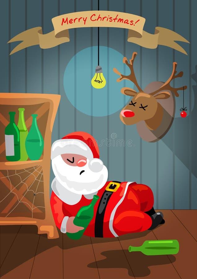 Santa Claus borracha está durmiendo en el cuarto libre illustration