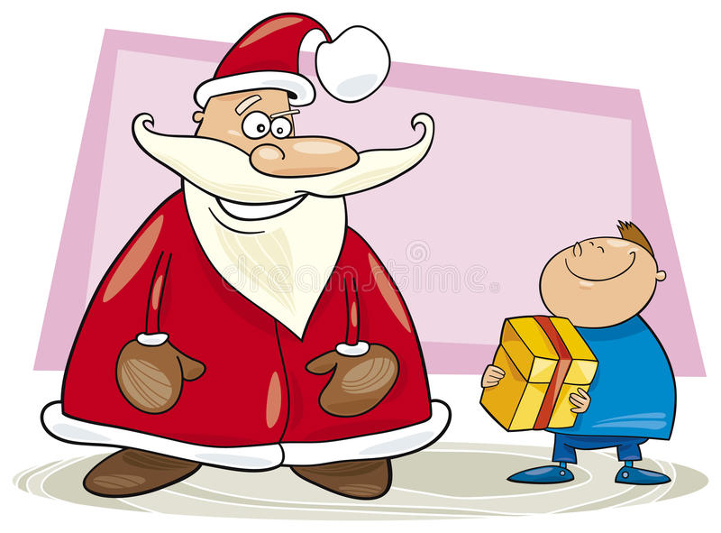 Download Santa Claus And Boy With Gift Stock Vector - Illustration: 11738078