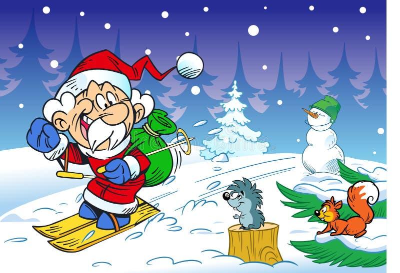 Santa Claus brådskor skidar på royaltyfri illustrationer