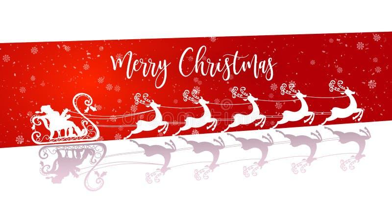 Santa Claus branca de voo com renas ilustração do vetor
