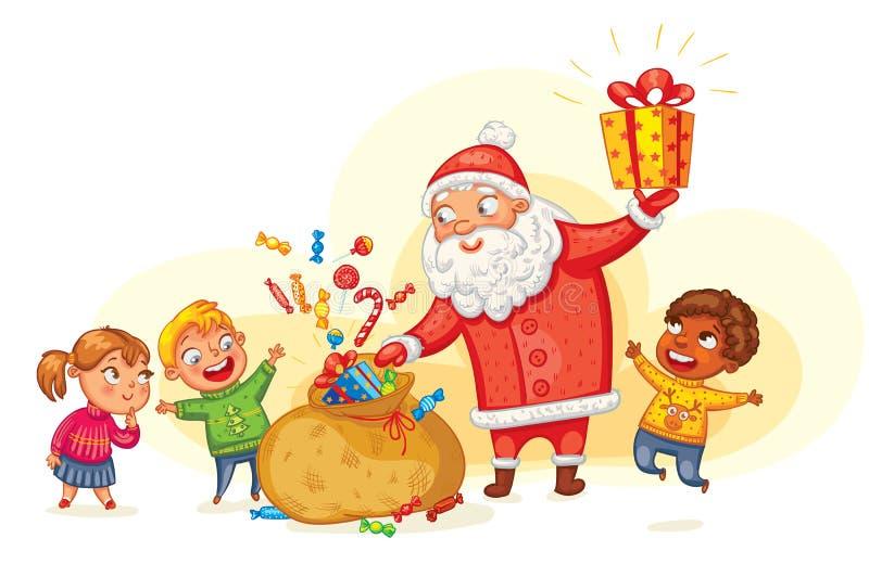 Santa Claus brengt giften aan kinderen vector illustratie
