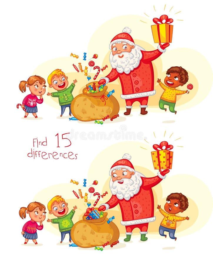 Santa Claus brengt giften aan kinderen stock illustratie