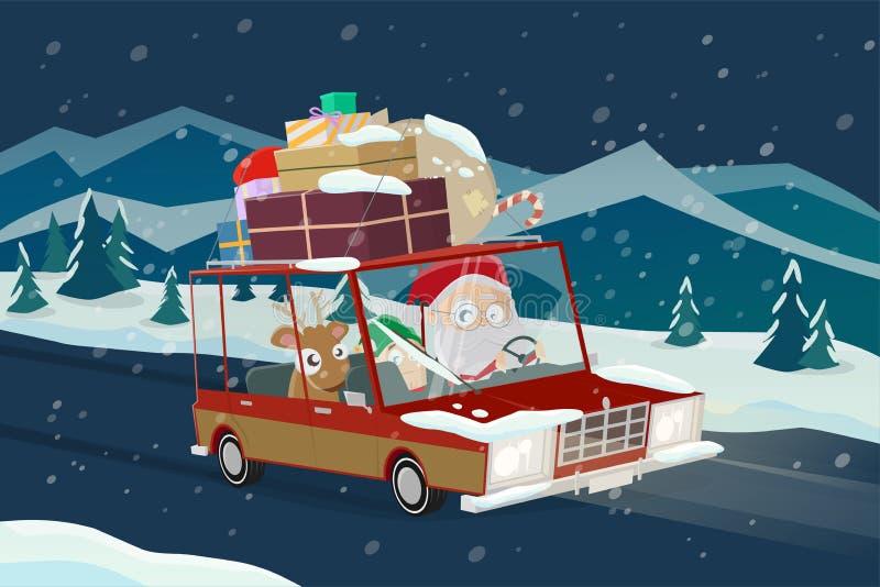 Santa claus bringing christmas gifts with a car royalty free illustration