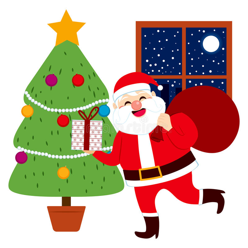 Presents Under The Christmas Tree: Santa Claus Bringing Gifts Tree Stock Vector