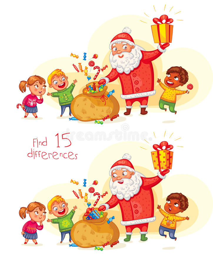 Santa Claus brings gifts to children stock illustration