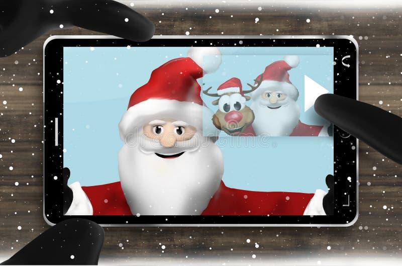 Santa Claus Browsing Selfie Photos stock de ilustración