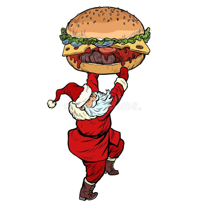 Santa Claus with Burger. Christmas menu fast food restaurant concept vector illustration