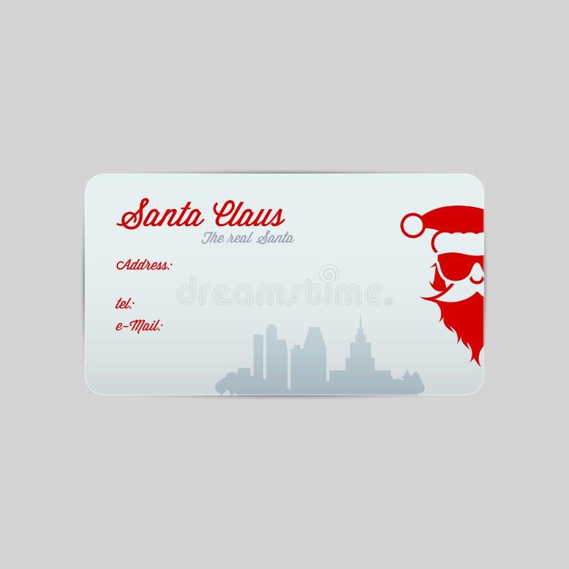 Santa Claus Business Card Template Glad jul och lyckligt nytt ?r ocks? vektor f?r coreldrawillustration royaltyfri illustrationer