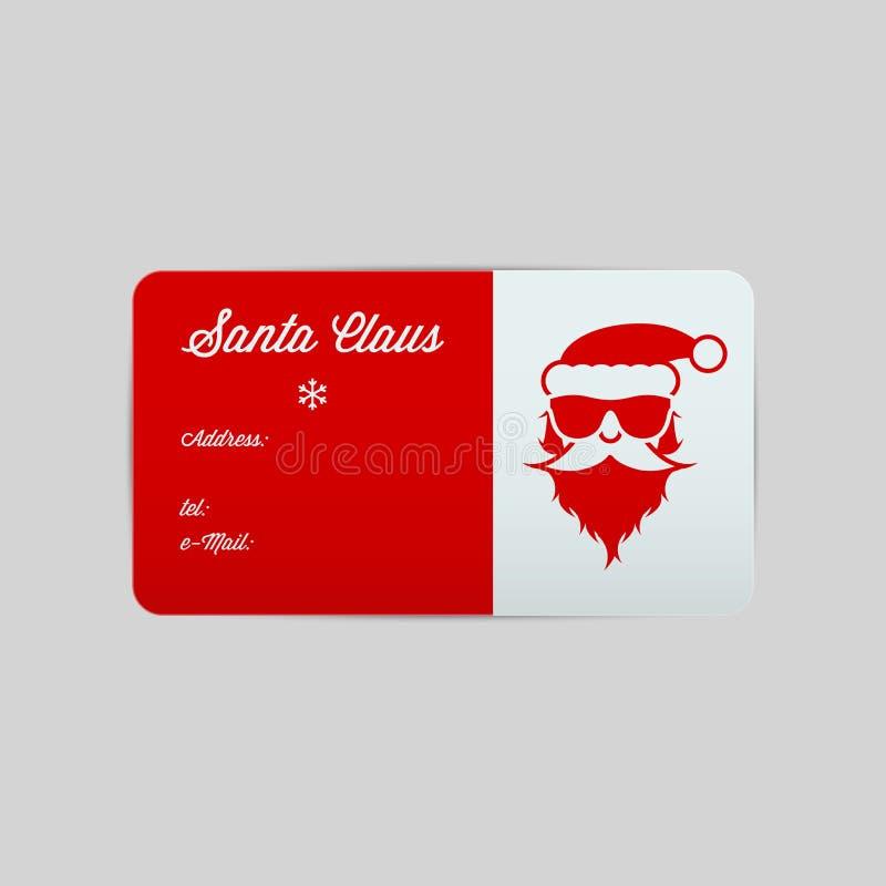 Santa Claus Business Card Template Vrolijke Kerstmis en Gelukkig Nieuwjaar Vector illustratie stock illustratie