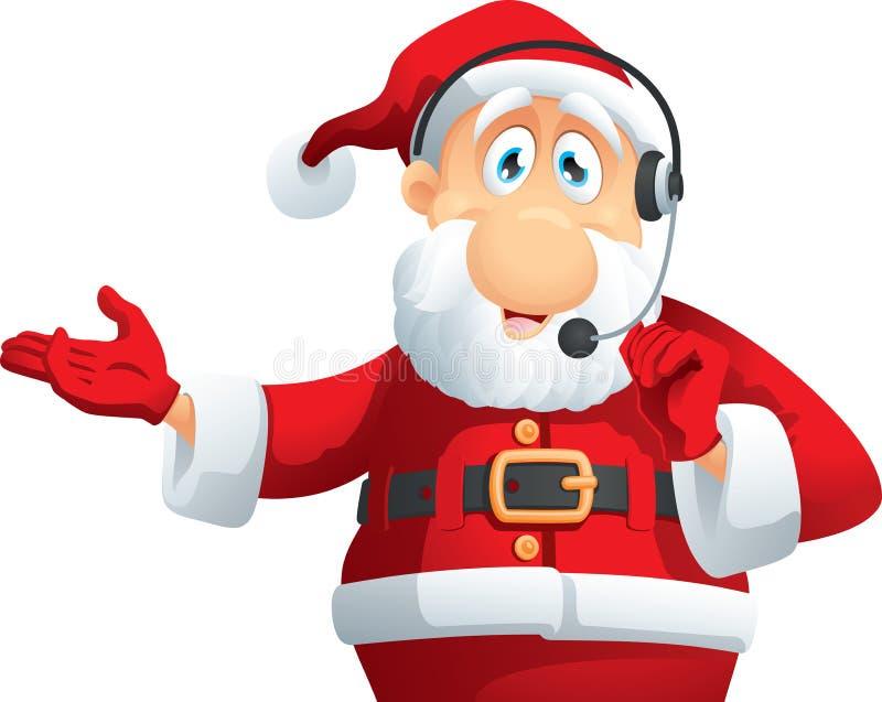 Santa Claus Call Center Vector Cartoon illustration de vecteur
