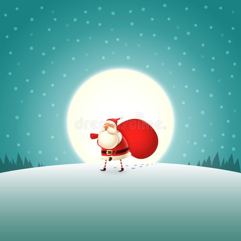 Santa Claus cansada que camina con los regalos empaqueta - paisaje del claro de luna stock de ilustración