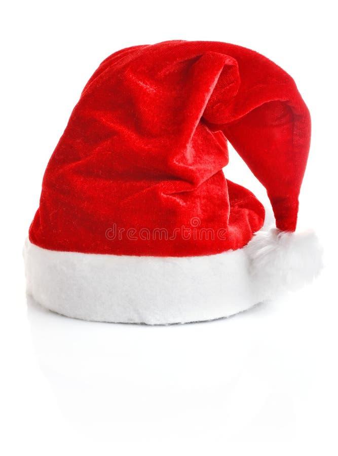 Santa Claus cap. On white background royalty free stock photos