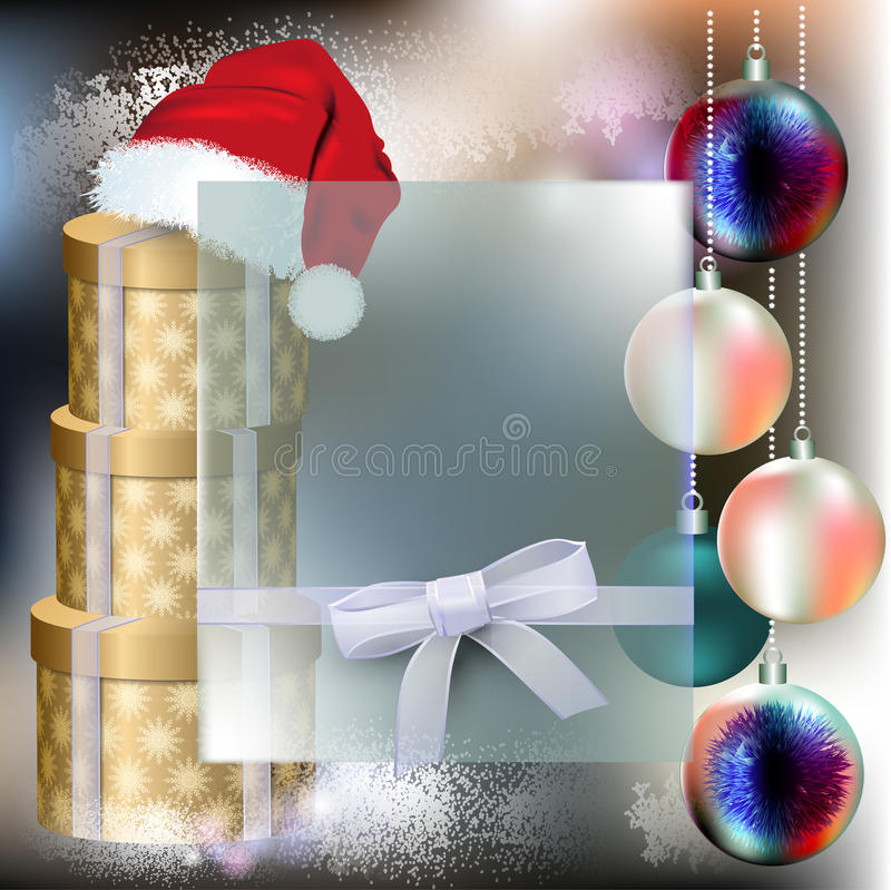 Santa Claus Cap with christmas balls and Boxes with gifts royalty free stock photos