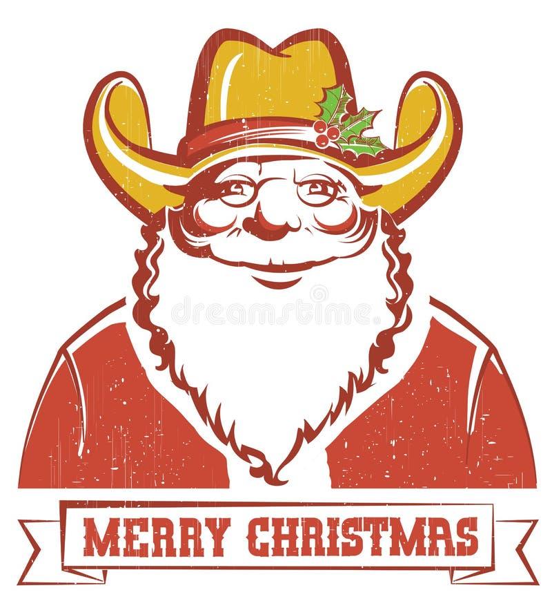 Santa Claus in cappello da cowboy su vecchia carta con testo illustrazione vettoriale