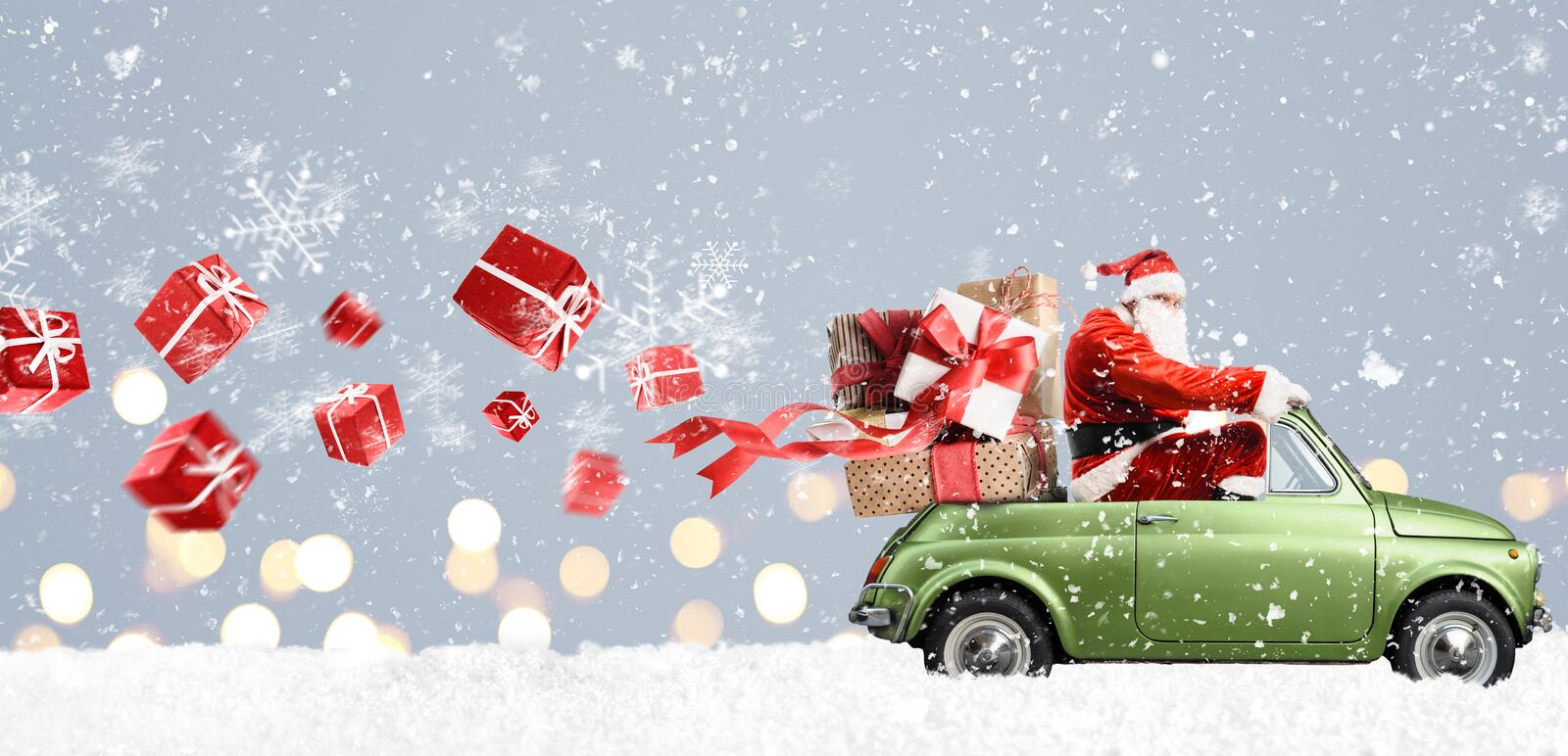 Santa Claus on car stock images