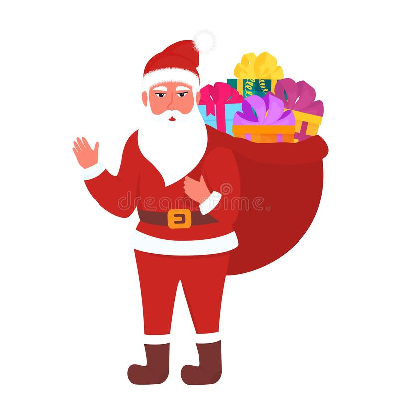 Santa Claus carries a full bag of gifts. New Year 2020 stock illustration