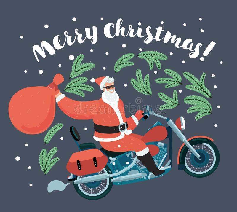 Santa Claus carries sack of gifts on motorcycle. vector illustration