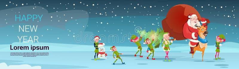Santa Claus Carry Big Present Sack, Elfs mit Kiefer-Gruß-Karten-frohe Weihnacht-guten Rutsch ins Neue Jahr stock abbildung