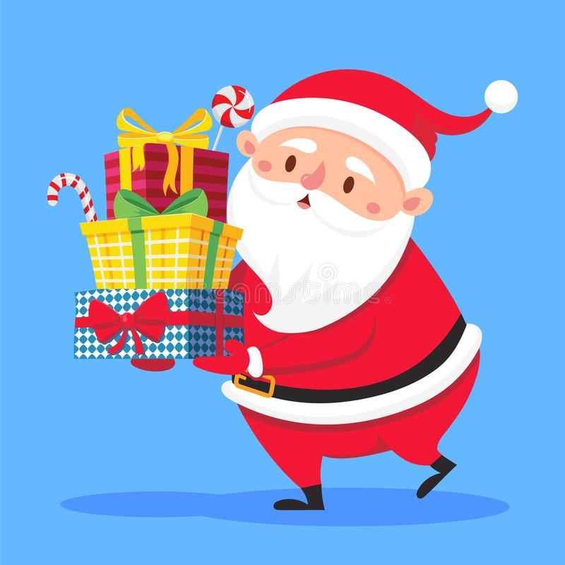 Santa Claus carry gifts stack. Christmas gift box carrying in hands. Heavy stacked winter holidays presents vector vector illustration