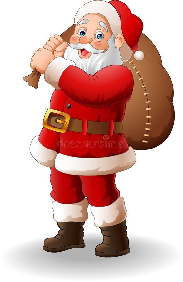 Santa Claus carrying big bag stock illustration
