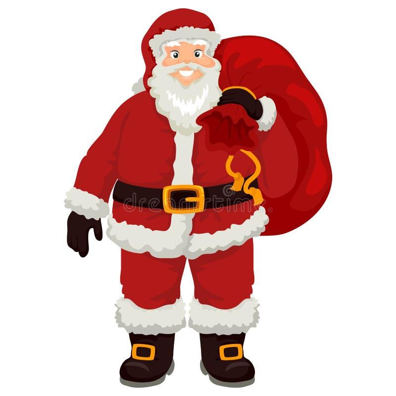 Santa Claus Carrying Christmas Sack stock illustration