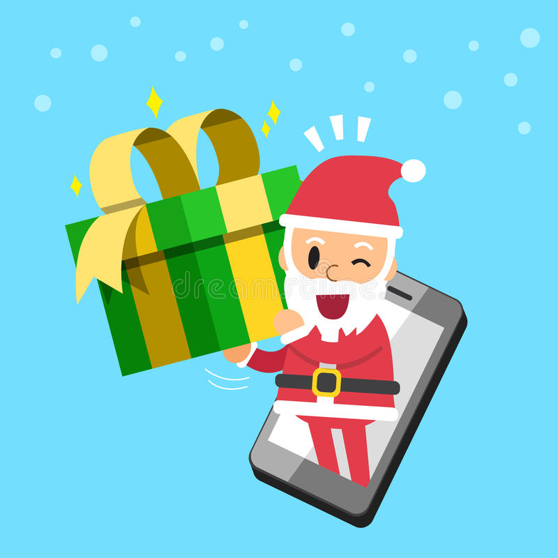 Santa claus carrying gift box with smartphone royalty free illustration