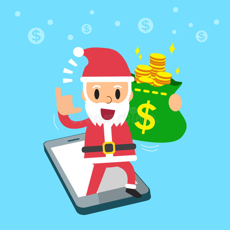 Santa claus carrying money bag with smartphone vector illustration