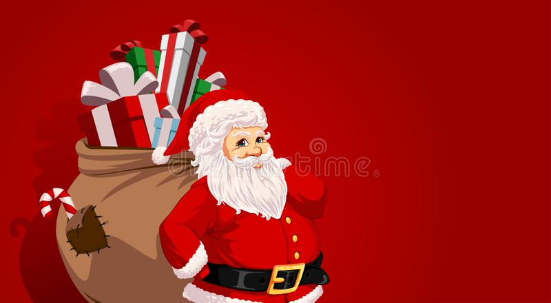 Santa Claus. Carrying sack full of gifts and candys vector illustration