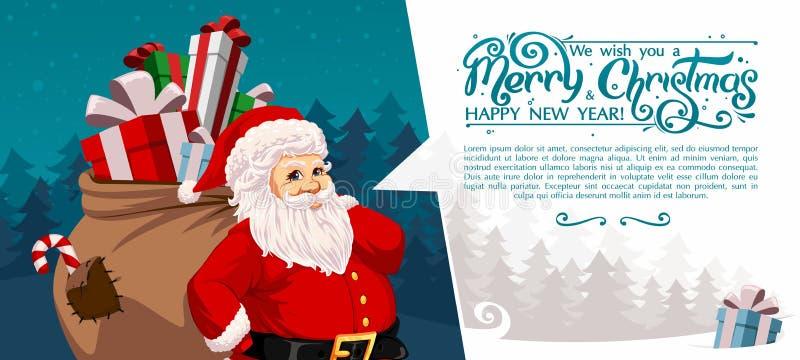 Santa Claus carrying sack stock photo