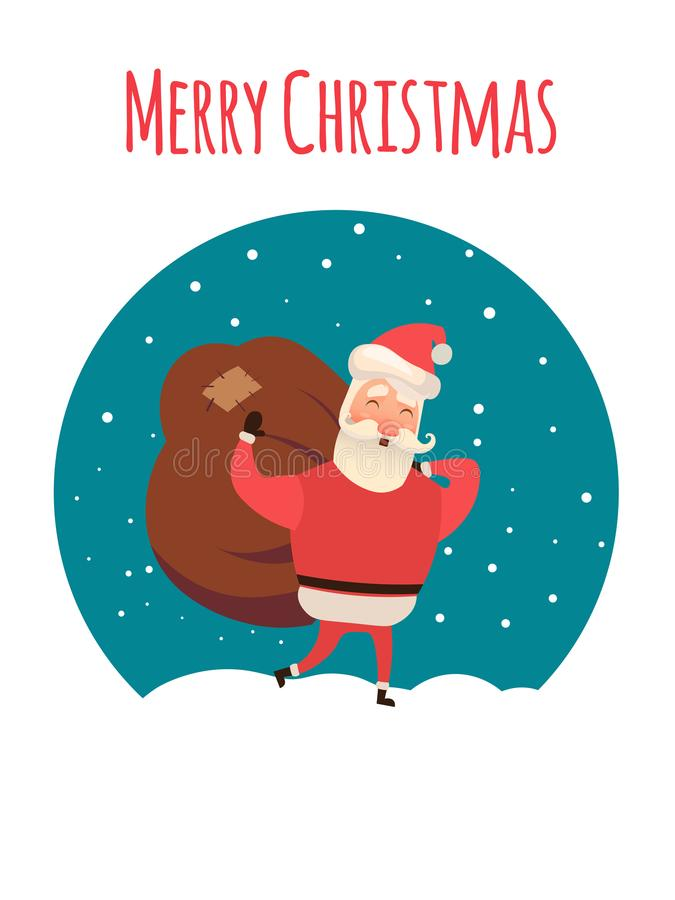 Santa Claus carrying sack full of gifts. Xmas time. Christmas coming. Vector illustration for your web design. stock illustration