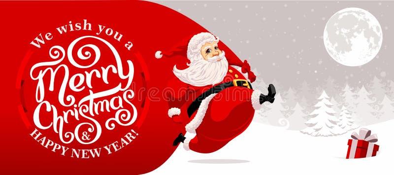 Santa Claus carrying sack stock images