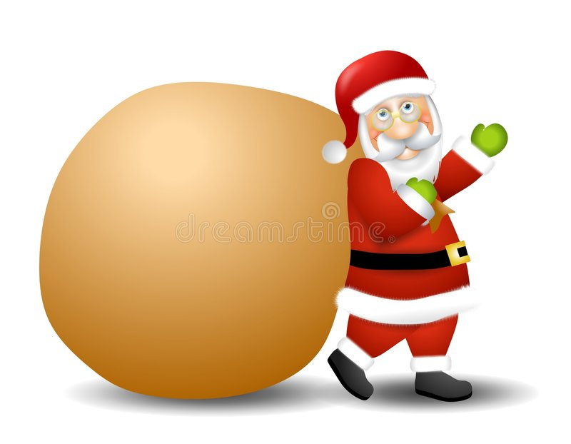 Santa Claus Carrying Toy Sack. An illustration featuring Santa Claus holding a toy sack for use as a background royalty free illustration