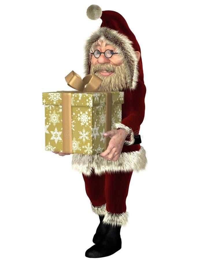 Santa Claus Carrying Um Presente De Natal Imagem de Stock