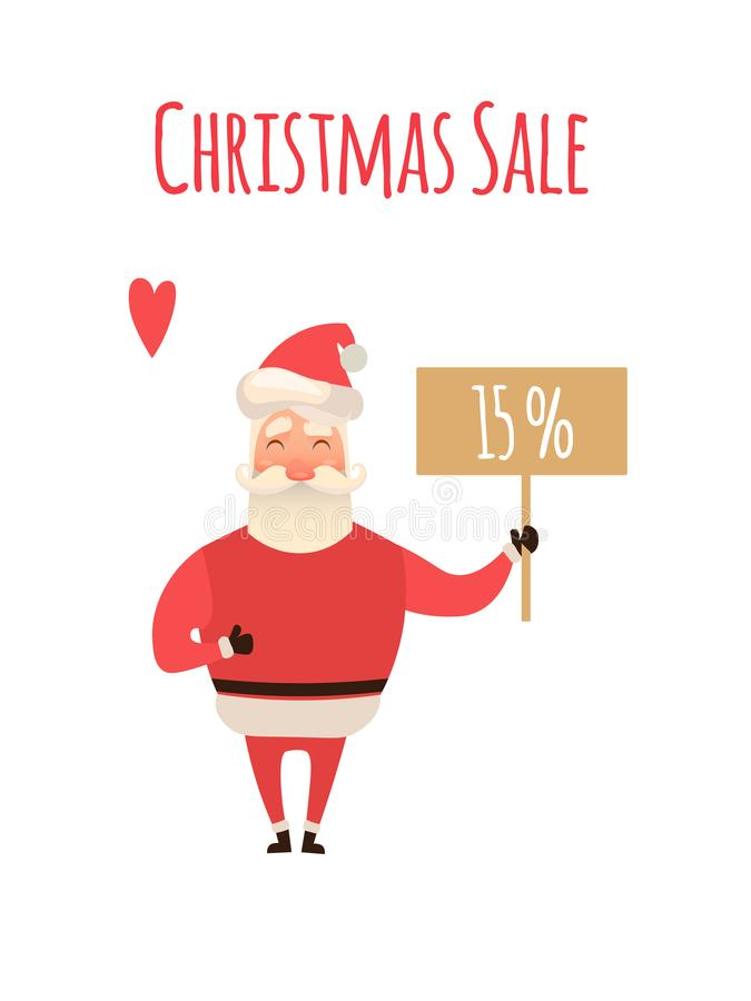 Santa Claus Cartoon Character Holding Christmas Sale Placard in white Background. Vector xmas Illustration for your web vector illustration