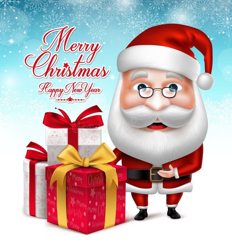 Santa Claus Cartoon Character Holding Collections dei regali di Natale illustrazione di stock