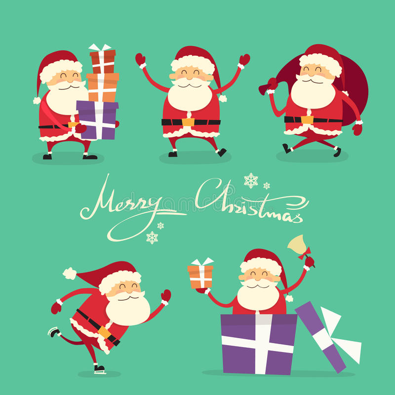 Santa Claus Cartoon Character Set Gift ask stock illustrationer