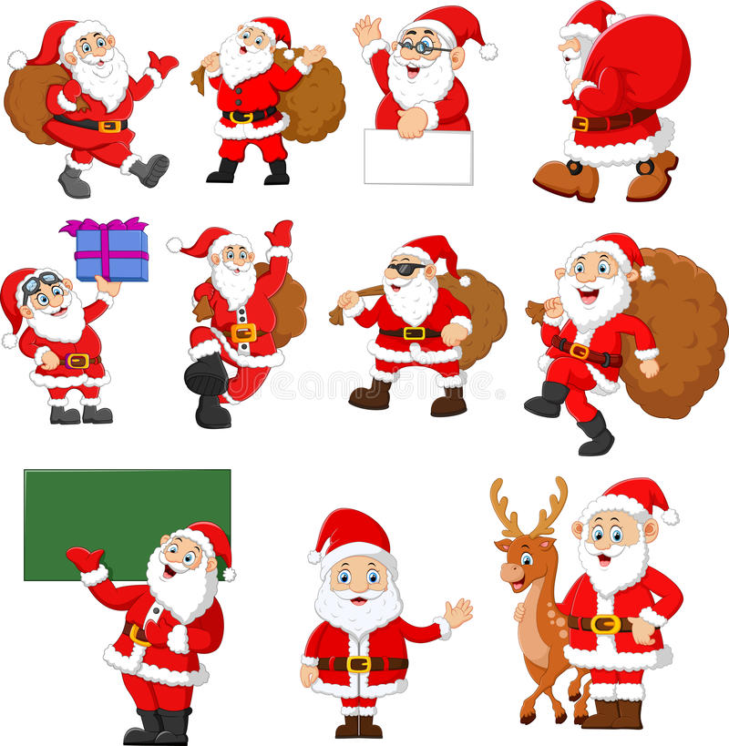 Santa claus cartoon collection royalty free illustration