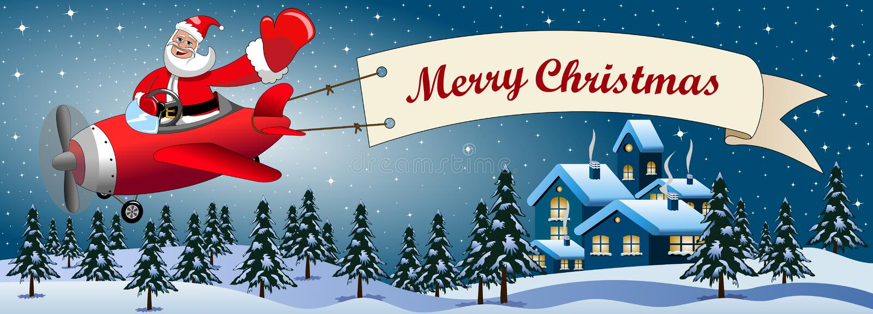 Santa Claus Cartoon Flying Airplane Night Landscape Stock Vector - Image 62704054