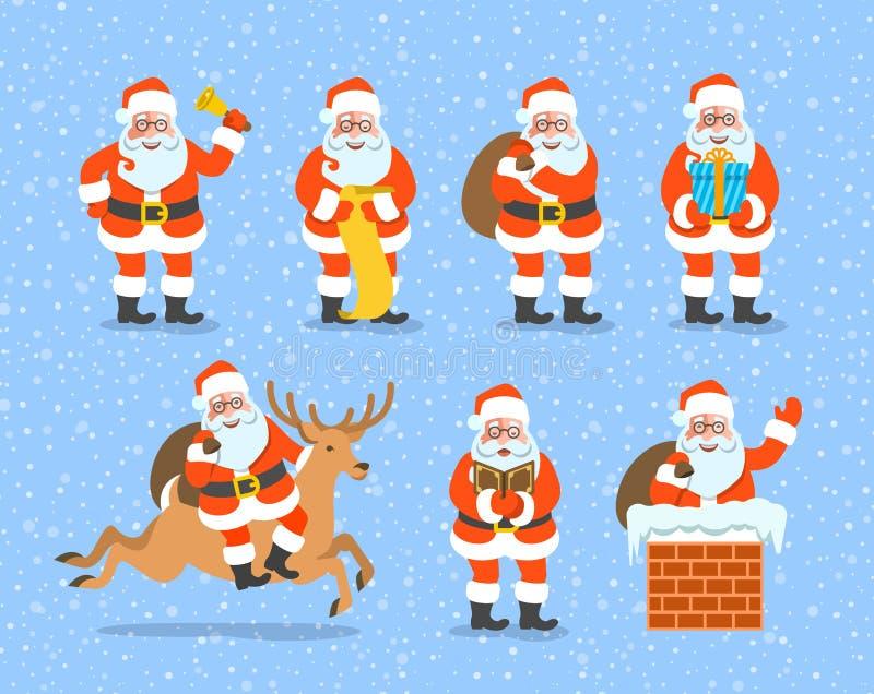 Santa Claus cartoon vector character poses collection royalty free stock photography