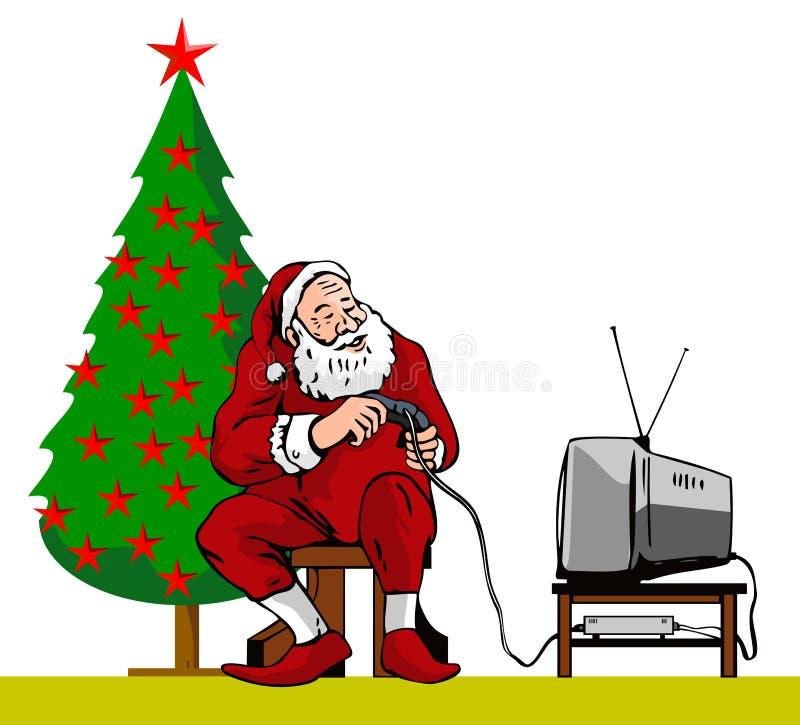 Santa Claus caught playing vector illustration
