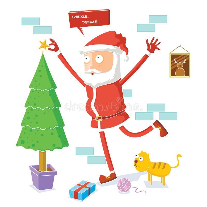 Santa Claus celebra il Natale illustrazione di stock