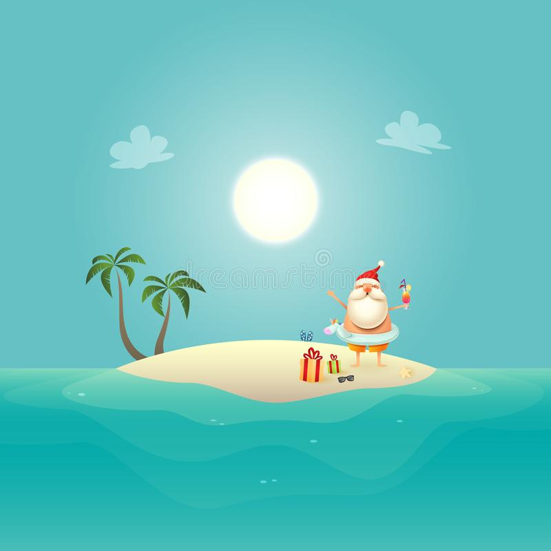 Santa Claus with Unicorn swim ring celebrate summer at sandy island - Christmas in June background royalty free illustration