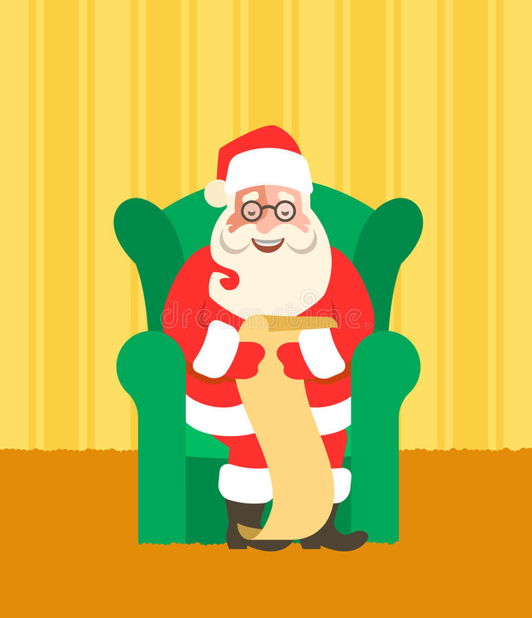Santa Claus in chairreads Naughty or Nice List stock images