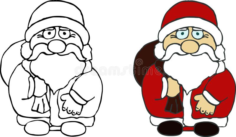 Santa Claus character. Line drawing template stock images