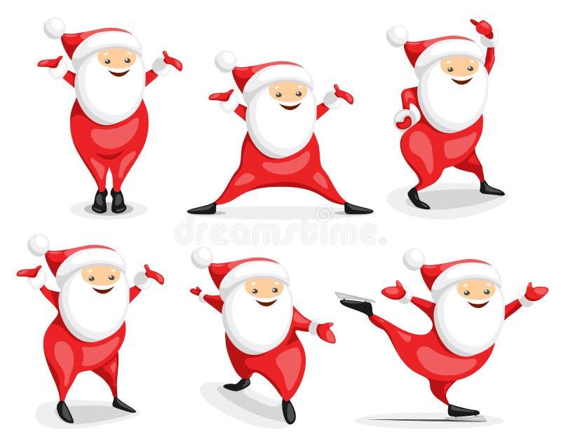 Santa Claus Character Set stock illustrationer