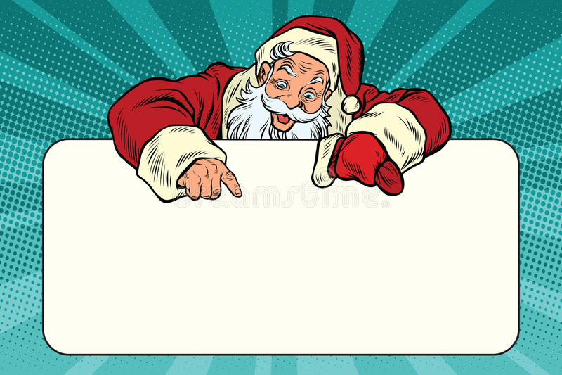 Santa Claus character shows on the banner copy space stock illustration