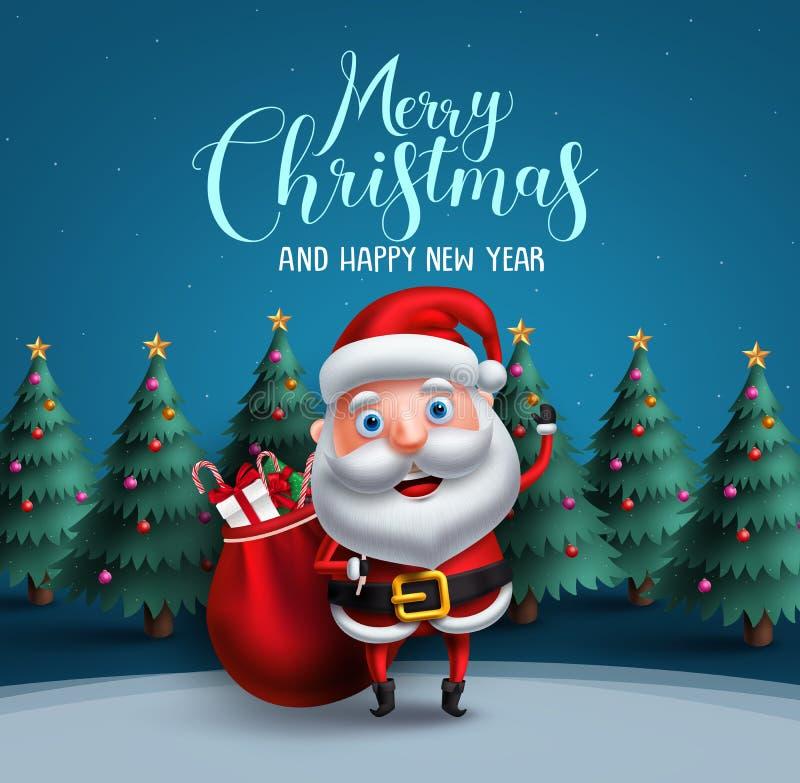 Santa Claus charakteru przewożenia wektorowa torba boże narodzenie prezenty z wesoło bożych narodzeń teksta powitaniem ilustracja wektor