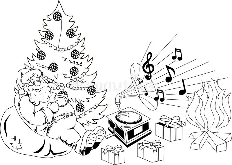 Santa Claus che ascolta la musica illustrazione di stock