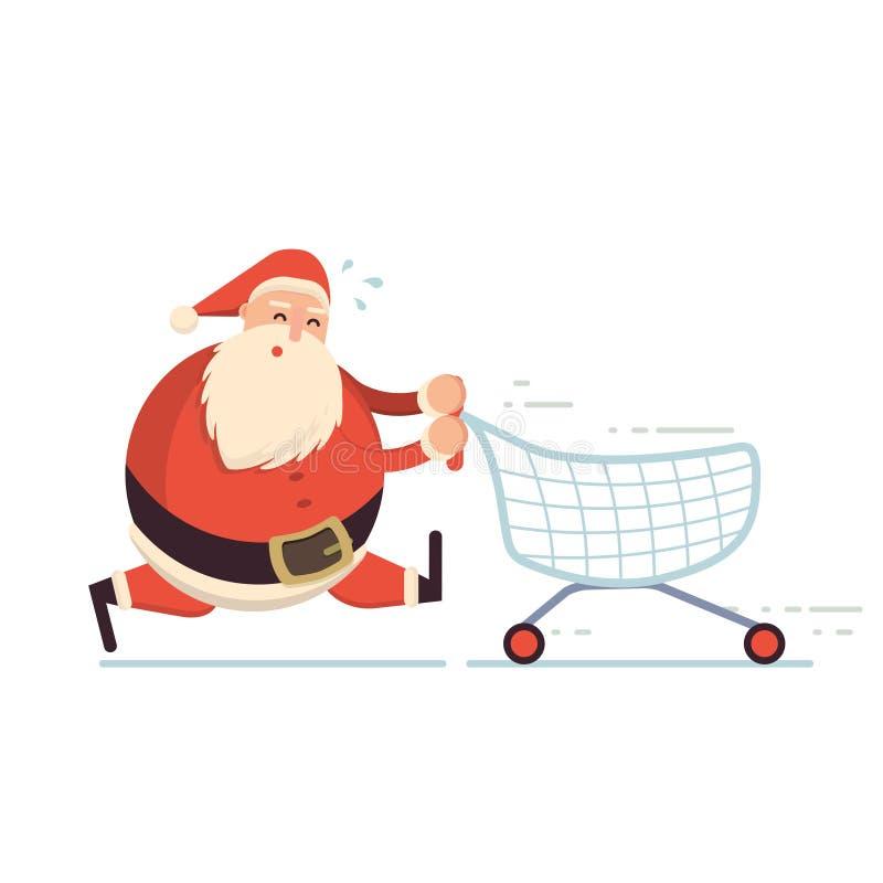 Santa Claus che corre duro con il carrello e stancarsi C illustrazione vettoriale